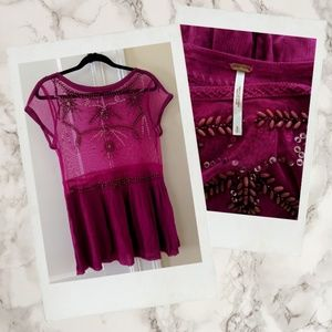 Free People ▪ Embellished & Beaded Sheer Tunic